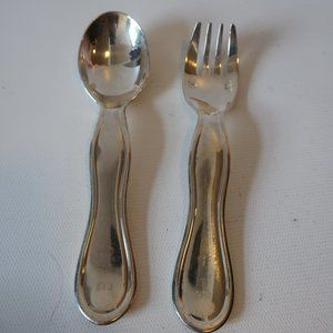 CHRISTOFLE SILVER PLATED BABY SET FORK & SPOON *